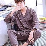 HIUGHJ Pijamas Ropa de Dormir de los Hombres de Manga Larga de Seda Suave de China Pijamas 2 Unidades Conjunto Primavera Verano Pijama Homme Hombre satén Ropa de Dormir Conjuntos