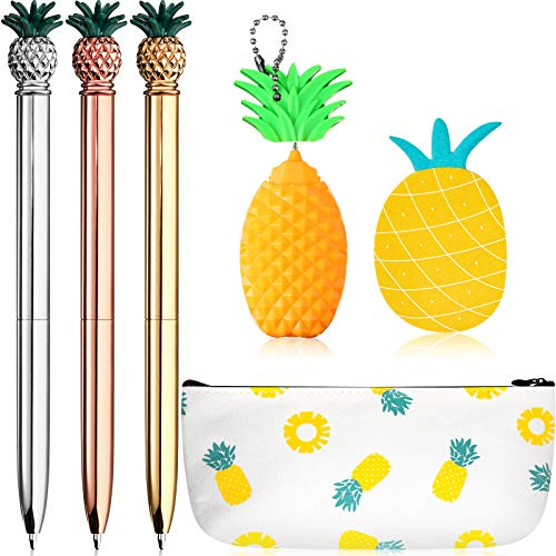 6 Pieces Cute Pineapple Stationery Set, Includes Pineapple Metal Ballpoint Pens, Plastic Pineapple Pen, Pineapple Pencil Pouch Bag and Pineapple Note Stickers for Office School Supplies Presents