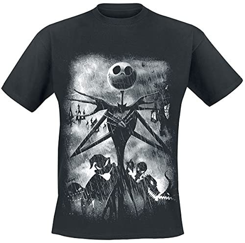 The Nightmare Before Christmas Pesadilla Antes De Navidad Stormy Skies Hombre Camiseta Negro L, 100% algodón, Regular