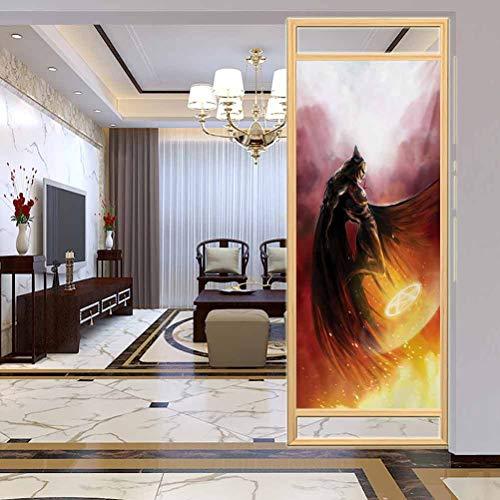 Película decorativa de cristal para ventana, diseño de superhéroe de fantasía en su disfraz original, decoración de baño para el hogar, baño, 17.7 x 78.7 pulgadas