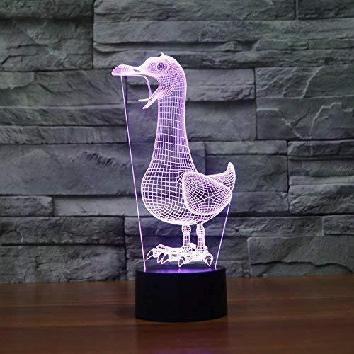 DCLINA Lámpara luz Noche Pato 3D 7 Cambio Color LED táctil USB Mesa Regalo Juguetes para niños Decoración Decoraciones Navidad Regalo San Valentín Regalo cumpleaños