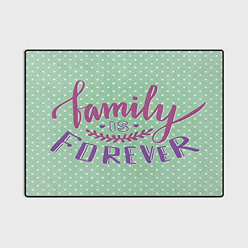 Family Throw Rugs Bath Rugs Bath Rugs for Bathroom Classical Polka Dots Background Creative Lettering Quote About Family for Kids Nursery Teens Room Girls Boys Purple Violet Mint Green 6 x 7 Ft