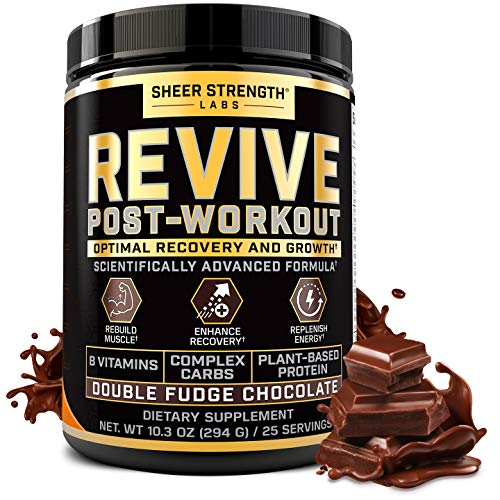 Revive Post Workout Recovery Drink - Natural Muscle Building & Muscle Recovery Supplement - Plant Based Protein Powder with B Vitamins - Double Fudge Chocolate Flavor - 25 Servings - Sheer Strength