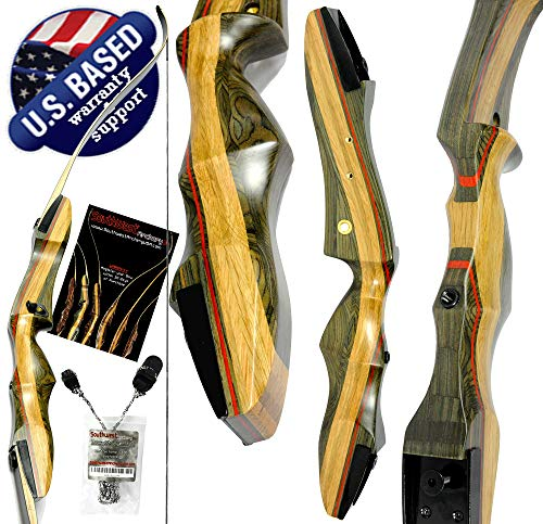 """Southwest Archery Spyder Takedown Recurve Bow – Compact Fast Accurate 62"""" Hunting & Target Bow – Right & Left Hand – Draw Weights in 20-60 lbs – Beginner to Intermediate - USA Company Spyder-40R-WS"""