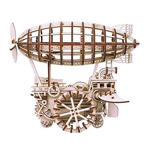 XIJIANG 4 tipos de bricolaje corte láser 3D modelo mecánico de madera modelo de bloques de construcción kits de montaje de juguete de regalo para niños adultos LK702Airship