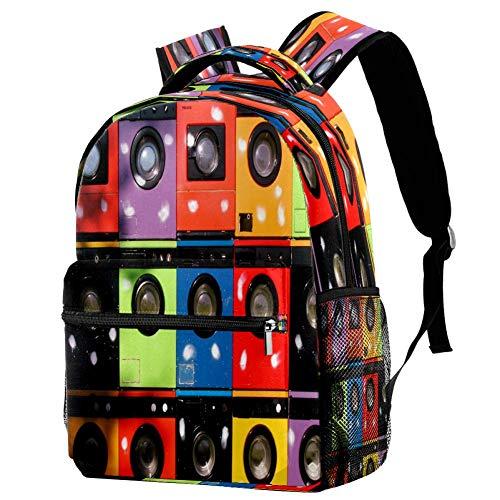 Tableros de pared blanco negro gris mochila de madera mochila escolar bolsa de libro mochila casual para viajes, estampado 5 (Multicolor) - bbackpacks004