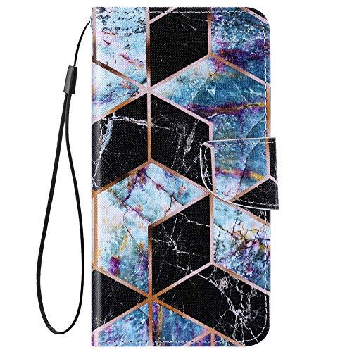 URFEDA Kompatibel mit Huawei P Smart Hülle Leder Handytasche Brieftasche Schutzhülle mit Bunt Muster Flip Hülle Stand Ständer Kartenfach Magnetverschluss Ledertasche Klapphülle,Schwarzer Marmor