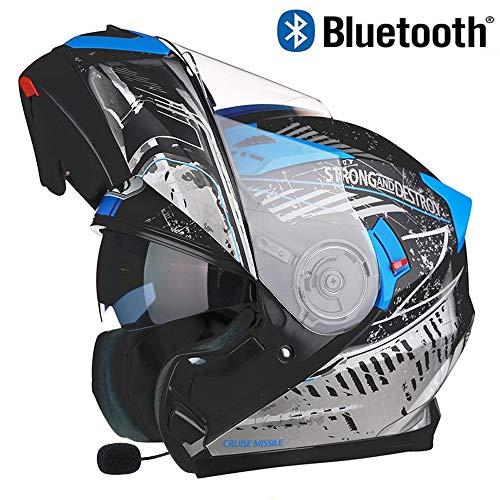 SJAPEX Integrales Cascos con Auricular Bluetooth, Ligero Modulares Cascos Full-Face Helmet con...