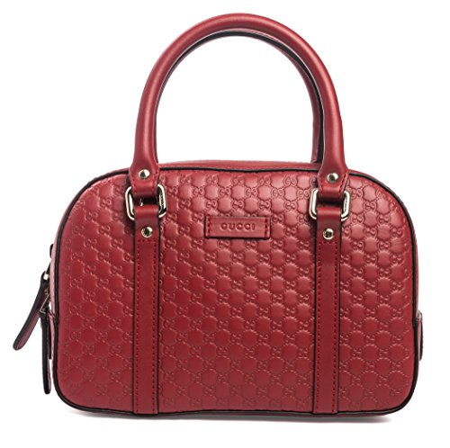 Gucci Micro Guccisima Rosso Red Small Satchel Leather Bag Crbdy Purse Italy New