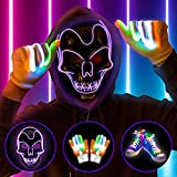 YoleShy Halloween Led Light Up Masks with Led Gloves Shoelaces Set, Led Costume Masks for Kids, Men & Women, Led Wired Scary Masks for Halloween Cosplay Costume and Party Supplies