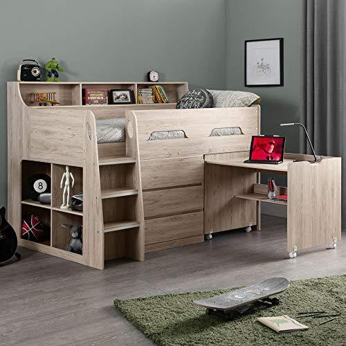 Oak Wooden Kids Bed, Happy Beds Jupiter Mid Sleeper with Storage and Desk - 3ft Single (90 x 190 cm) Frame Only