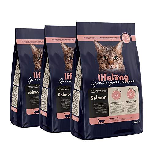 Marca Amazon Lifelong Alimento seco para gatos adultos con salmón fresco, receta sin cereales - 3kg *3
