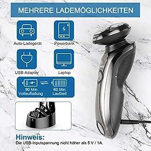 MooSoo Rasierer Herren Elektrisch mit Reinigungsstation, Elektro/Akku für 60 Min.Laufzeit/IPX7/Nass Trocken, Reisesperre, LCD-Anzeige, 5 USB Minuten Schnellladung, 8G