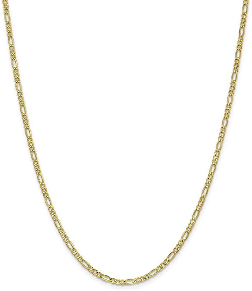 10k Yellow Gold 2.5mm Link Figaro Chain Necklace 18 Inch Pendant Charm Fine Jewelry For Women Gifts For Her