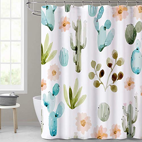 Water Resistant Shower Curtain - Cactus Tropical Plants Pattern