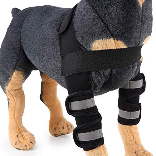 Fushida - Codo para mascotas, soporte para artritis, estabilidad después de lesiones, (2 unidades), color negro