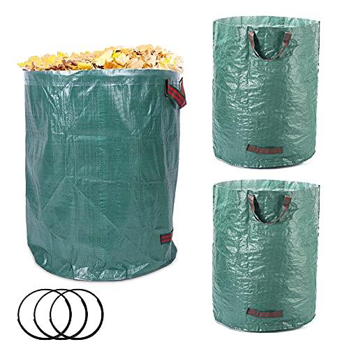 3 Pack 72 Gallon Garden Waste Bags Yard Reusable Storage Bag Heavy Duty Waste Bags Leaf Bag Lawn Bags