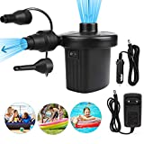 Hospaop Electric Pump, Electric Air Pump, High Power Portable Quick Air Pump with 3 Nozzles for Air Bed Mattress Inflatables Paddling Pool, Beach Toys, Swimming Ring