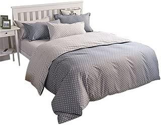 YOUSA Polka Dot Bedding Grey Bedding 4 Pieces Microfiber Duvet Cover Set,Twin