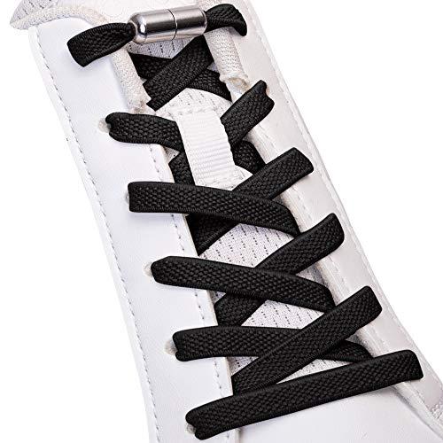 SULPO Elastische Gummi-Schnürsenkel ohne Binden - Flach, mit Drehverschluss (Schwarz)
