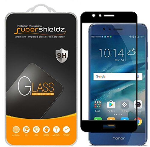(2 Pack) Supershieldz for Huawei (Honor 8) Tempered Glass Screen Protector, (Full Screen Coverage) 0.33mm, Anti Scratch, Bubble Free (Black)
