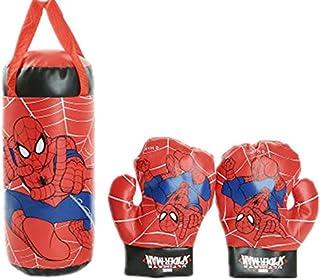 طقم كيس ملاكمة وقفاز ملاكمة للأطفال من القماش بطبعة الرجل العنكبوت