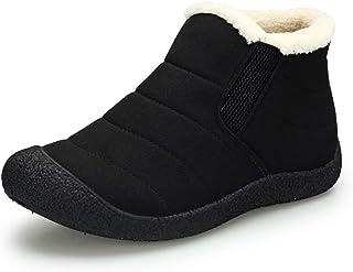Chaussures Bottes de Neige avec Chaude Doublure Cheville Hiver Courts Boots avec Epais Fourrées Bottine pour Hommes Femme,...