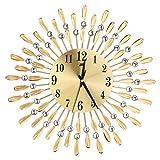 Healifty Metal Rhinestone Wall Clock Silent Sunburst Wall Clock Hanging Decor for Living Room Bedroom Office (Golden)