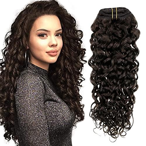 Hetto Extension a Clip Cheveux Ondulé Naturel,Brun Le Plus Foncé Double Weft Vrais Clip in Humain Extesions 22 Pouces Clip Remy Hair Extension 7 Pièces 100g par Paquet