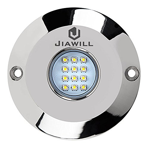 jiawill 60W CREE LED Surface Mount Underwater Boat Lights 316L Stainless Steel with Internal Driver and Overheat Protection (Blue)