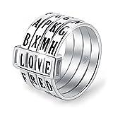 Lotus Fun S925 Sterling Silber Damen Ringe Kreativer Drehbarer Buchstabe Rring Handgemachte Schmuck für Frauen und Mädchen. (61 (19.4))