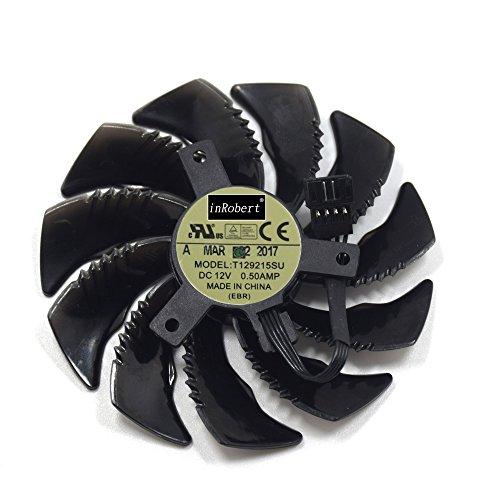 inRobert T129215SU Grafikkarte Lüfter für Gigabyte GTX 1050 Ti RX 480 470 570 580 GTX 1060 G1 Gaming Cooler (88 mm) Fan-B