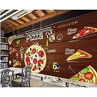 Iusasdz カスタム壁紙3Dピザ背景壁西洋レストラン壁画テレビ背景壁壁画壁紙壁3D-120X100Cm
