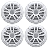 4) New Boss Audio MR6W 6.5' 180W Dual Cone Marine/Boat Speakers Stereo- White