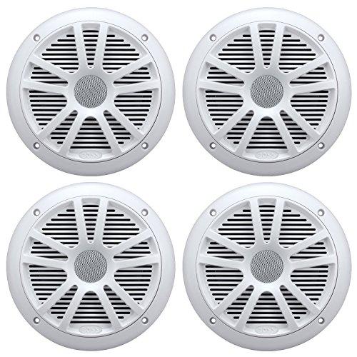 "4) New Boss Audio MR6W 6.5"" 180W Dual Cone Marine/Boat Speakers Stereo- White"