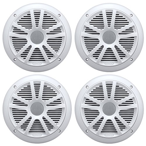"4) New Boss Audio MR6W 6.5"" 180W Dual Cone Marine/Boat Speakers Stereo- White"