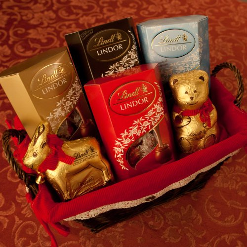 Lindt Christmas Chocolate Hamper – with Milk, Assorted, Dark, 2016 Winter Edition Hazelnut Truffles, Lindt Teddy and Reindeer