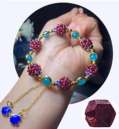 Pulsera de aleación Pulsera de piedras preciosas naturales 7 pulgadas Chakra elástico Gemas Piedra curativa Cristal Cuarzo Granate Estilo tibetano Mujeres Hombres Niñas Regalos de cumpleaños (u