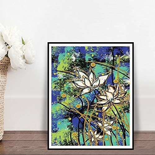 SADHAF Abstracte lotus wandschilderij canvas poster en aquarel bloemen plant familie woonkamer decoratie poster en print 30x40cm (kein Rahmen) A1.