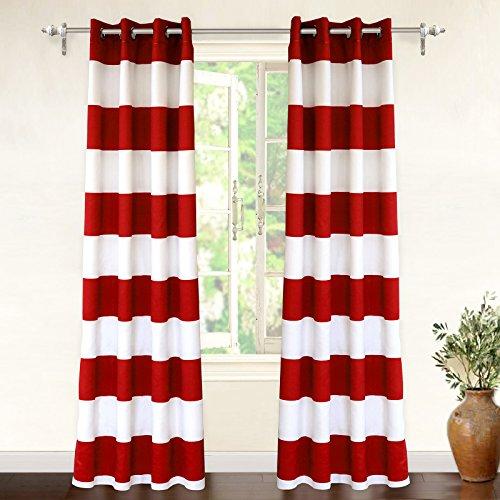 DriftAway Mia Stripe Room Darkening Grommet Unlined Window Curtains 2 Panels Each 52 Inch by 84 Inch Red