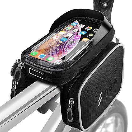 yotame Bolsa de Bicicleta, Bolsa Bicicleta Manillar Impermeable para Bicicleta de Montaña con Táctil y Visera para Teléfono Inteligente por Debajo de 6,5 Pulgadas