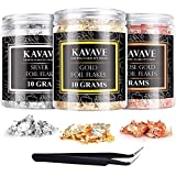 Gilding Flakes Art Foil Kit (3 Bottles/30 Grams + Tweezer) Gold, Silver and Rose Gilded Flakes Metallic Glitter Foil for Resin, Nail Arts, Painting, Gilding and Crafts