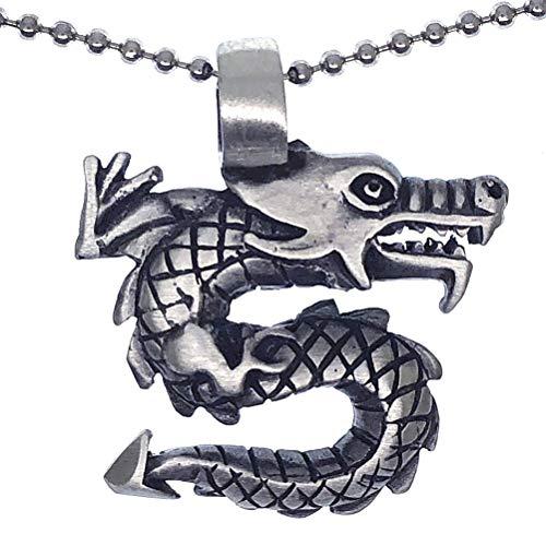 Ohdeal4U Collar con colgante de amuleto de dragón de la suerte chino, con cadena de bolas de plata
