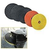 5 PCS Stone Concrete Marble Quartz Granite 4 Inch Diamond Wet Sanding Polishing Polisher Pads Kit Tools For...