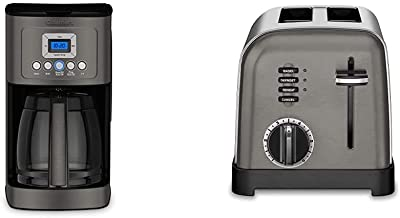 Cuisinart DCC-3200BKSP1 Perfectemp Coffee Maker, 14 Cup Progammable with Glass Carafe, Black Stainless Steel & Metal Classic Toaster, 2-Slice, Black Stainless