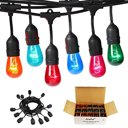 Areful Colored Outdoor String Lights, 24ft Weatherproof Connectable...