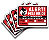 iSYFIX Alert Pets Inside Signs Stickers – 4 Pack 7x5 Inch – Premium Self-Adhesive Vinyl, Laminated for Ultimate UV, Weather, Scratch, Water and Fade Resistance, Indoor and Outdoor