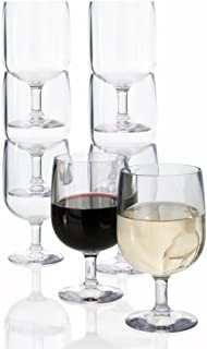 Stackable 8-ounce Plastic Wine Stems | Set of 8 Clear