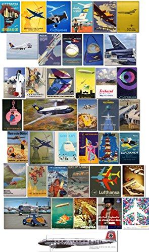 STICKERZZZ!!! Vintage Deutsche Lufthansa Luggage Labels, Aufkleber - Retro Pack of 40 Suitcase Travel Stickers - 80 x 50 cm