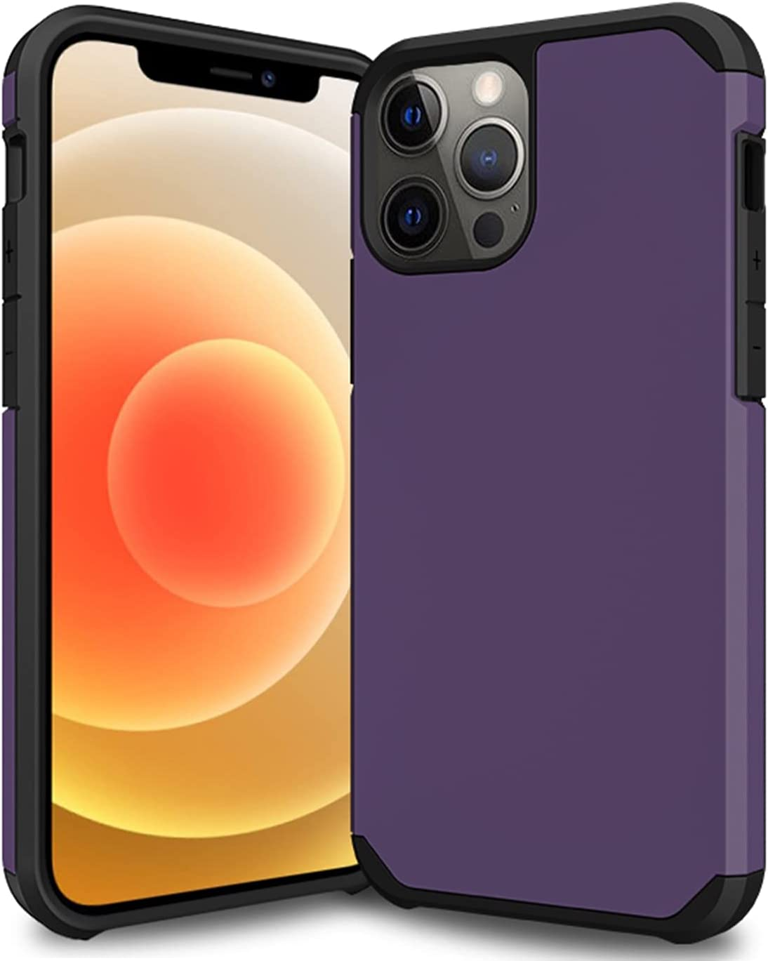 Nyxozonny Phone Case Compatible with iPhone 12 Pro Max(6.7 inch), Smooth Touch Lightweight Slim Full-Body Protective Bumper Case for Men&Women(Purple)
